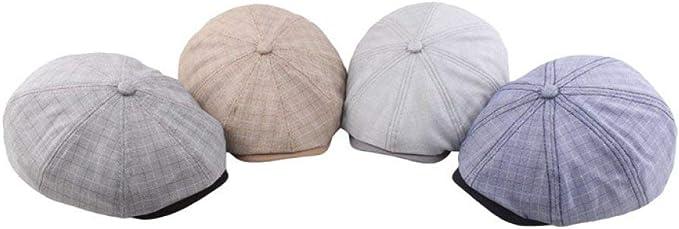 AROVON Berets Newsboy Spring Summer Mens Cotton Stitching Octagonal Cap Beret Adjustable Man Hat Men Cap