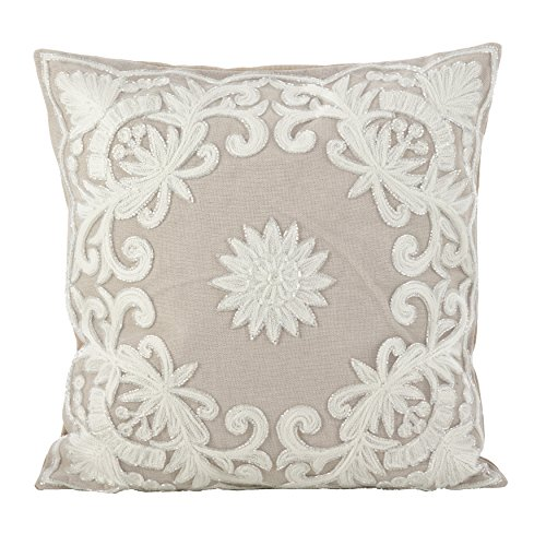 SARO LIFESTYLE Embroidered Floral Design Beaded Cotton Poly Filled Throw Pillow 18