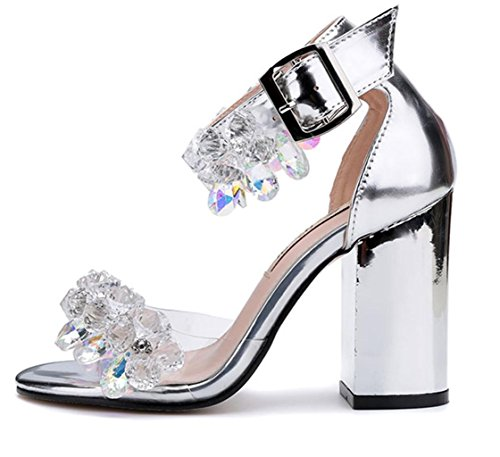Bridesmaid Ladies Silver Bridal Size Fashion Womens Shoes Gift Model Wedding Prom High Girl's Evening HETAO End Personality Heel Party High Sandals ZqxvwRCn
