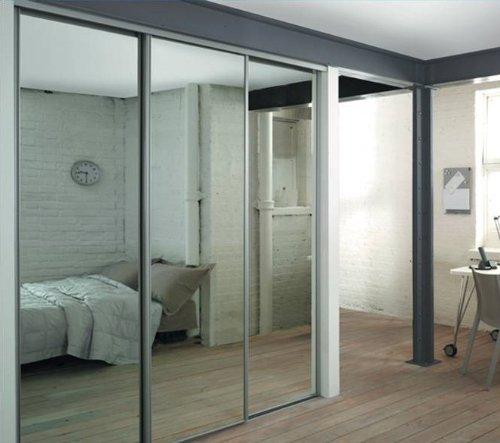 Doors Design: SpacePro Silver Mirror Sliding Door Triple Pack Interior