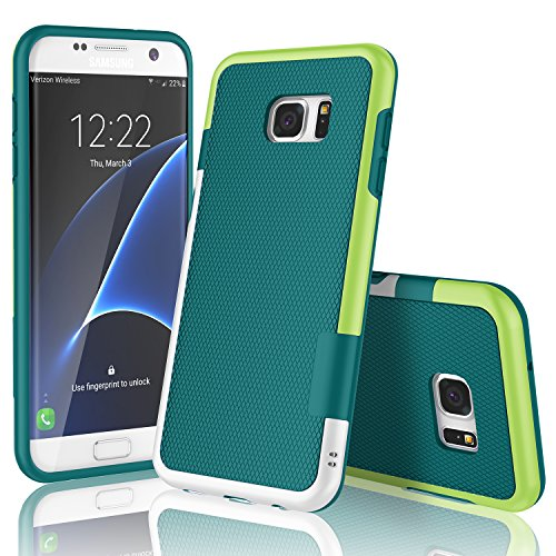 Samsung Galaxy S7 Edge Case, TILL(TM) Ultra Slim 3 Color Hybrid Impact Shockproof Anti-slip Rugged Back Cover Soft TPU Hard PC Bumper Extra Front Raised Lip Case Cover for Galaxy S7 Edge G935 [Green] (Edges Tpu)