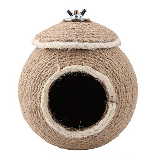HEEPDD Bird Natural Cage Toy, Parrot Hemp Rope Weaving Nest Pet Bird Breeding Nest Cave Parrot Hanging House for Cockatiels Parakeets Small and Medium-Sized Birds(Screw)