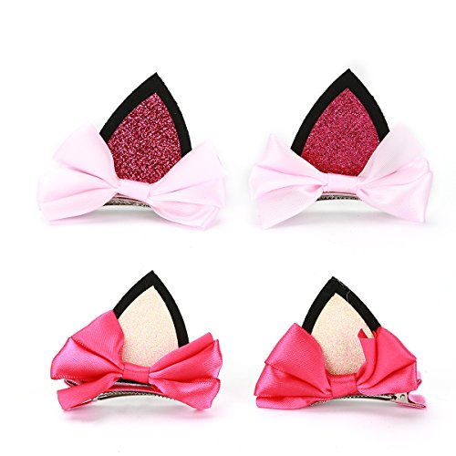 Pack of 4 Baby Girl Cat Ear Bownut Hair Clip Pins (Style (Style Ear Pin)