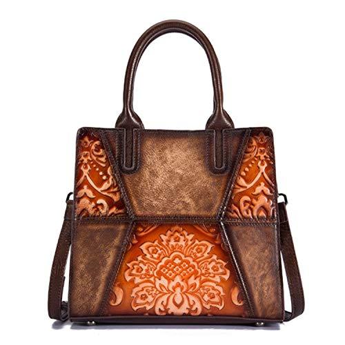 Cowhide Top Handle Crossbody Bags Briefcase Tote Handbag Luxury Genuine Embossed Leather Women Messenger Shoulder Bag,Orange Coffee
