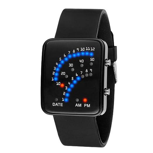 reloj LED deportivo silicona para hombre y mujer, QinMM pulsera con LED digital (Negro