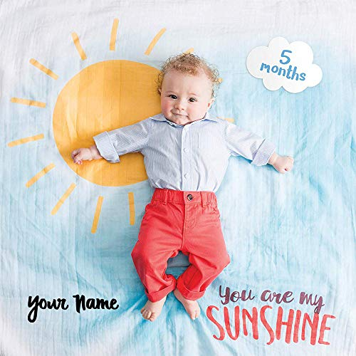 lulujo Personalized Baby's First Year You are My Sunshine Sun and Cloud Print Baby Boy or Girl Growth Blanket and Month Milestone Cards Set with Name for $<!--$28.99-->