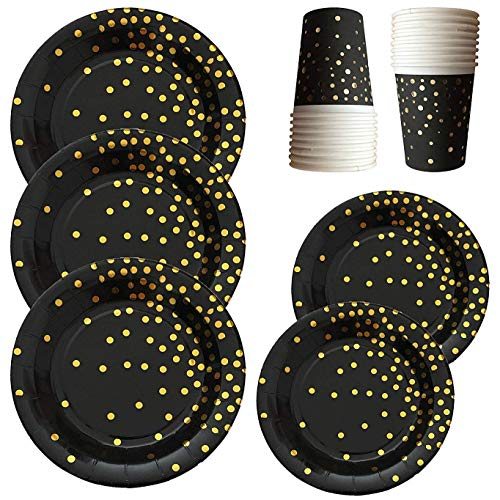Fancy Paper Plates and Cups- 144 Piece Black & Gold Elegant Party Plates and Cups With Gold Foiled Confetti Polka Dots- 9