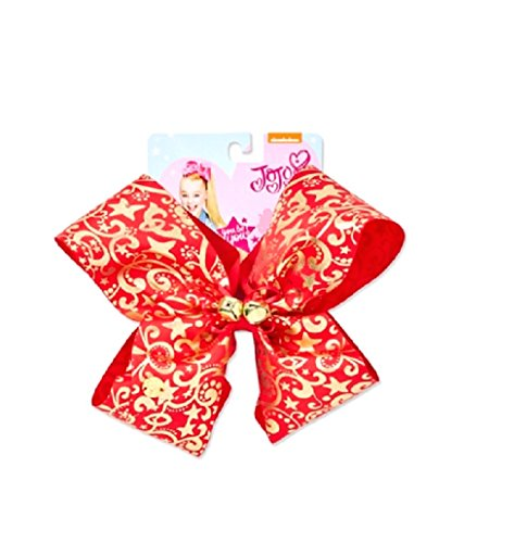 Jingle Bows - Nickelodeon JoJo Siwa Exclusive Girl's Large Holiday Bow Red & Gold With Jingle Bells
