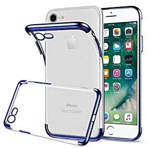 HOOMIL Apple iPhone 7/8 Case Clear Silicone Phone Case Cover (Blue Bumper)