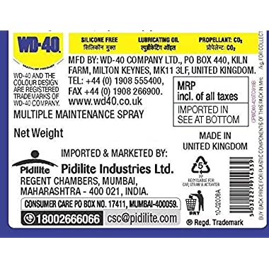 Pidilite WD-40, Multipurpose Spray, Rust Remover, Squeak Noise Remover and Lubricant, Stain Remover, and Cleaning Agent, 170g 6