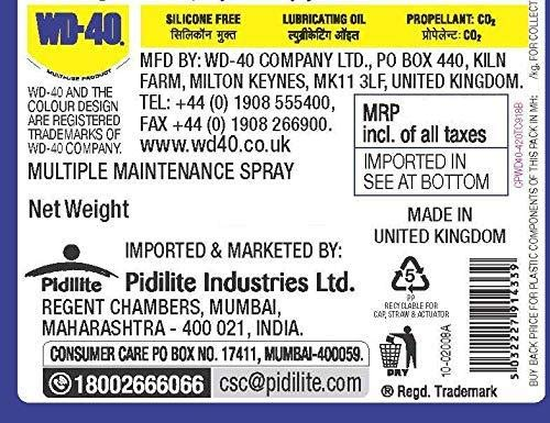 Pidilite WD-40, Multipurpose Spray, Rust Remover, Squeak Noise Remover and Lubricant, Stain Remover, and Cleaning Agent, 170g 3