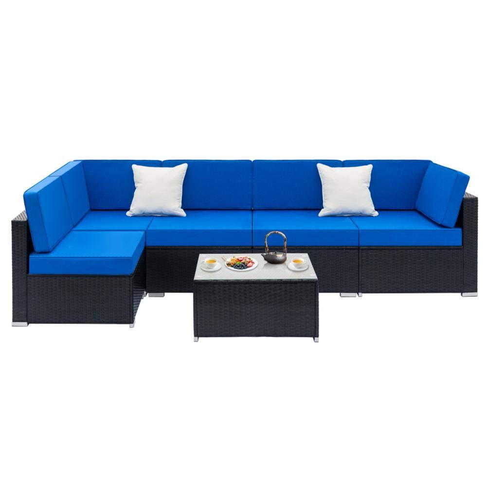 Jannyshop Sofa Set with 2pcs Corner Sofas & 4pcs Single Sofas & 1 pcs Equipped Weaving Rattan Coffee Table Black-Right Sofa