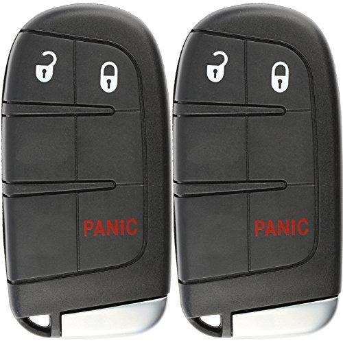 KeylessOption Keyless Entry Remote Car Smart Key Fob for Dodge Dart Journey Charger Chrysler 300 M3N-40821302 (Pack of 2)