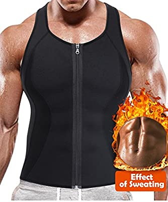 BRABIC Hot Sauna Sweat Suits,Zipper Closure Tank Top Shirt for Weight Lost,Waist Trainer Vest Slim Belt Workout Fitness-Breathable, Neoprene Fabric
