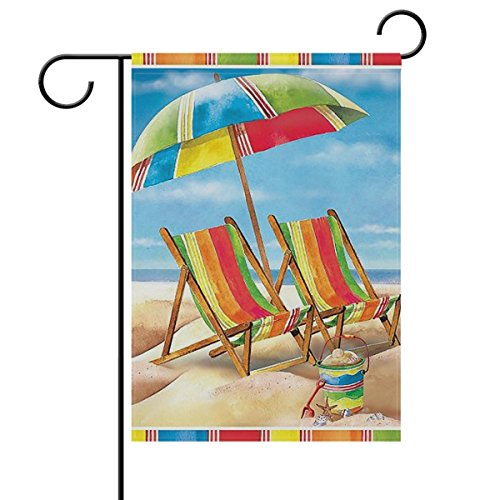 ALAZA Rainbow Umbrella Chair Beach Sandy Double Sided Garden