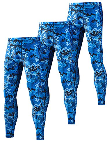 LAFROI Men's 3-Pack UPF 50+ Baselayer Digital Sublimated Print Compression Tights Pants Leggings with Drawstring (Blue Hive x3, LG) (Tight 3/4 Skins)