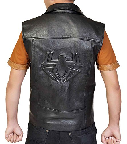 Spider Logo Embossed Special Cut Black Costume Double Breasted Faux Leather Vest (X-Large, - Leather Vest Embossed