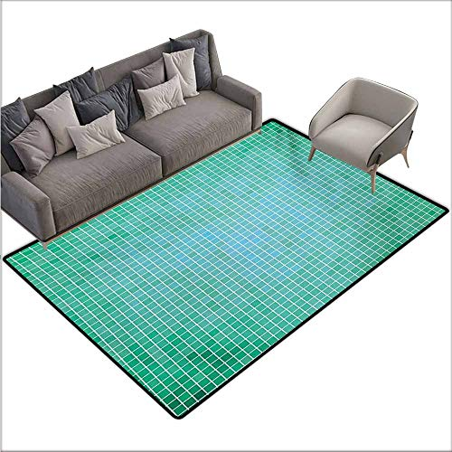 Door Rug Area Rug Teal Square Pixel Like Mosaic Pattern Simplistic Modern Contemporary Design Illustration Print Easy to Clean Carpet W67 xL102 Green