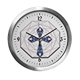 Modern Wall Clock Stained Glass Cross