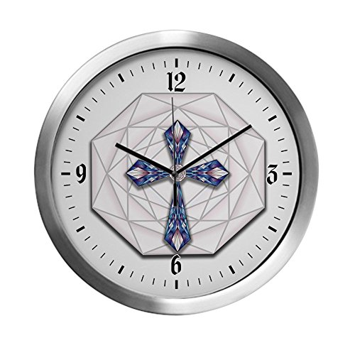 Modern Wall Clock Stained Glass Cross by Truly Teague