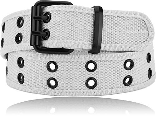 Luna Sosano Double Hole Cotton Canvas Web Belt - Heavy Duty - White - Small