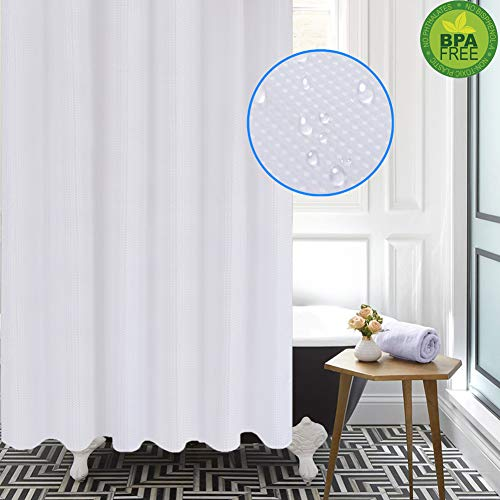 Magnificentex White Shower Curtain, 70 x 72 Waffle Weave Waterproof Mildew Resistant Machine Washable, Shower Curtain for Bathroom