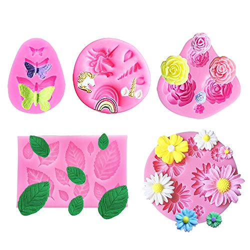 5 Pack Mini Unicorn Silicone Mold, Flowers,Butterfly and leaf Silicone cake fondant mold Set,Cupcake Toppers Fondant Chocolate Mold for Children's Birthday,Baby Shower and Unicorn Theme Party ()