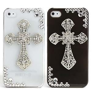 RC - Fashionable Diamond Case for iPhone 4 / 4S (Cross, Handmade) , White
