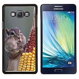 KLONGSHOP // Cubierta de piel con cierre a presión Shell trasero duro de goma Protección Caso - Ardilla hambrienta divertida - Samsung Galaxy A7 A7000 //