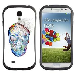 Paccase / Suave TPU GEL Caso Carcasa de Protección Funda para - Dust Watercolor White Skull Skeleton - Samsung Galaxy S4 I9500