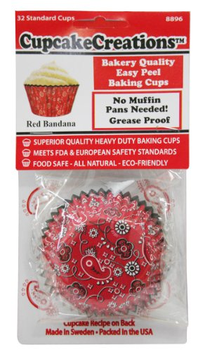 HIC Harold Import Co. 9047-HIC Red Bandanna Standard Baking Cups Home Decor Products (32/Package)