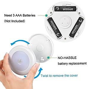 AMIR (Upgraded Version) Motion Sensor Light, Cordless Battery-Powered LED Night Light, Stick-anywhere Closet Light Stair Lights, Wall Lights for Hallway, Bedroom, Kitchen (White – Pack of 6)