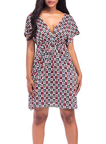 Kleider Damen Sommer Strand Kleid Kurz Casual Mode Druck Kurzarm ...