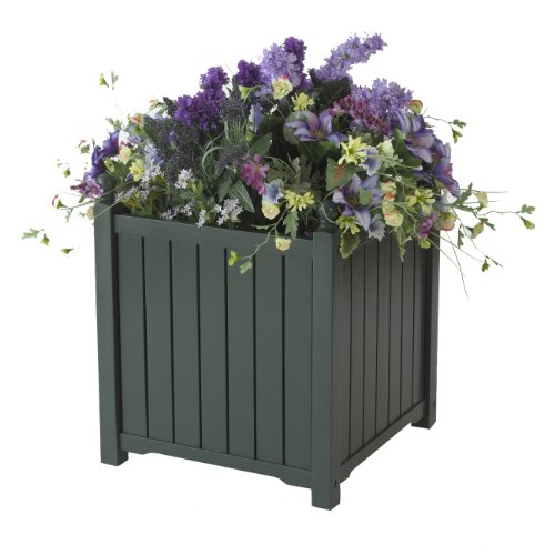DMC Products Lexington 16-Inch Square Solid Wood Planter, Hunter Green Dmc Flower