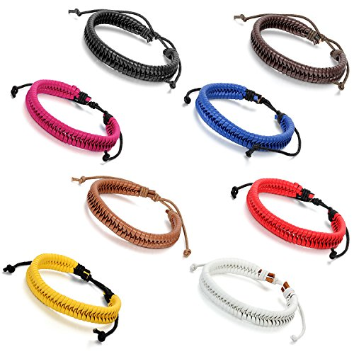 Flongo Adjustable Leather Braided Bracelet