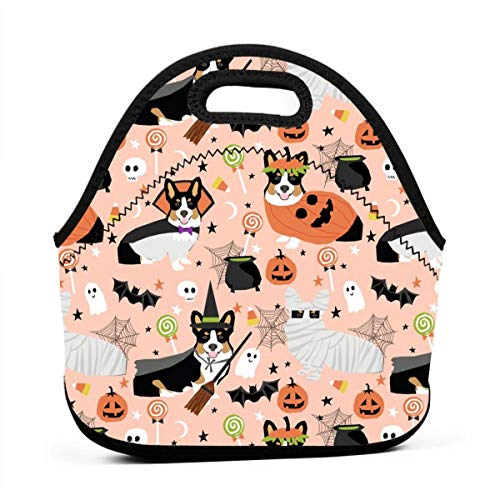 Tri-Colored Corgi Halloween Costumes Mummy Vampire Ghost Just Dog Peach Lunch Bag Insulated Thermal Lunch Tote Outdoor Travel Picnic Carry Case Lunchbox Handbags with -