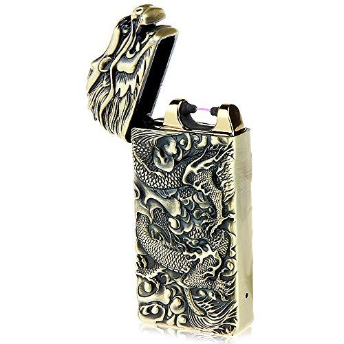 (Kivors Dragon Lighter USB Rechargeable Battery Windproof Plasma Arc Pulse Electronic Metal Cigarette Lighter, Shake to Induction Lighter)