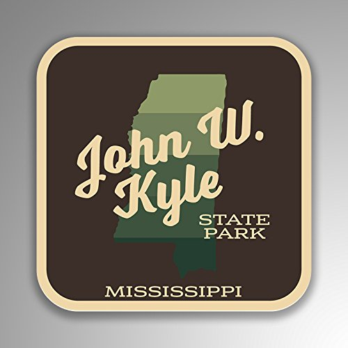 (JMM Industries John W Kyle State Park Mississippi Vinyl Decal Sticker Retro Vintage Look 2-Pack 4-inches by 4-inches Premium Quality UV Protective Laminate SPS347)
