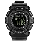JUSHENG Spovan Multi function Sports Compass Alarm Altimeter Fishing Quartz Watches Suitable for Climbing Running Fishing Competition and other sports … (Black)