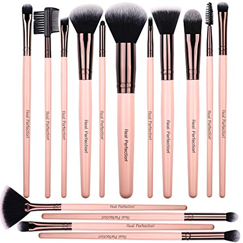 Premium Quality 15pcs Makeup Brushes Set, includes eye shadow brush, foundation brush, blush brush, concealer brush, concealer brush and deluxe fan brush, for professional makeup artists (Best Quality Makeup Brush Sets)
