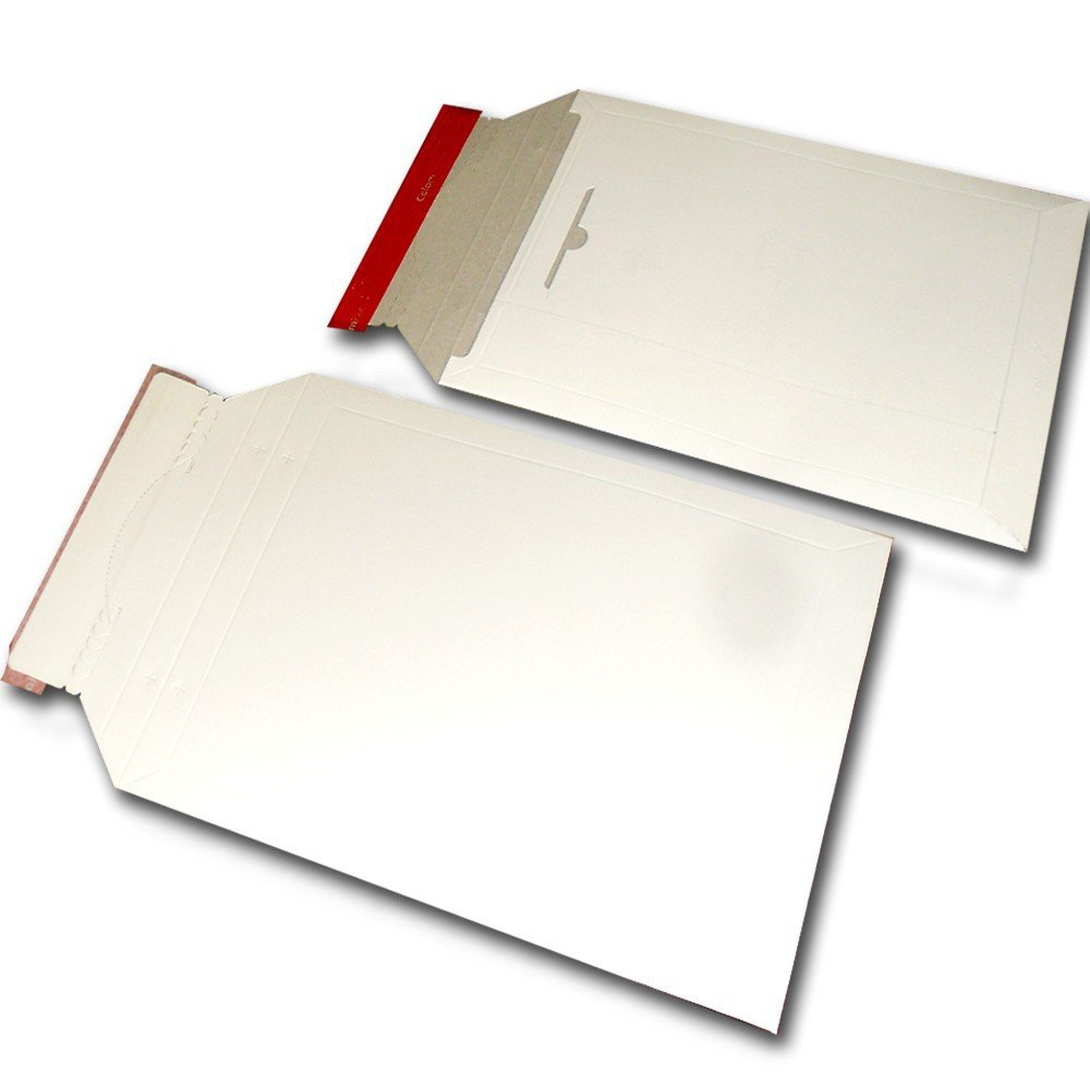 100 Enveloppes en Carton 250x353+30mm A4+ blanc