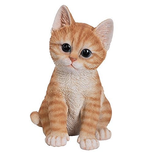 Pacific Giftware Realistic and Cute Orange Tabby Kitten Collectible Figurine Amazing Detail Glass Eyes Hand Painted Resin Life Size 8 inch Figurine Perfect for Cat Lover ()