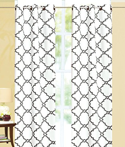 White Thermal Print (Ace 21 Geometric Modern Print Insulated 100% Thermal Blackout Window Grommet Curtain Panel (84