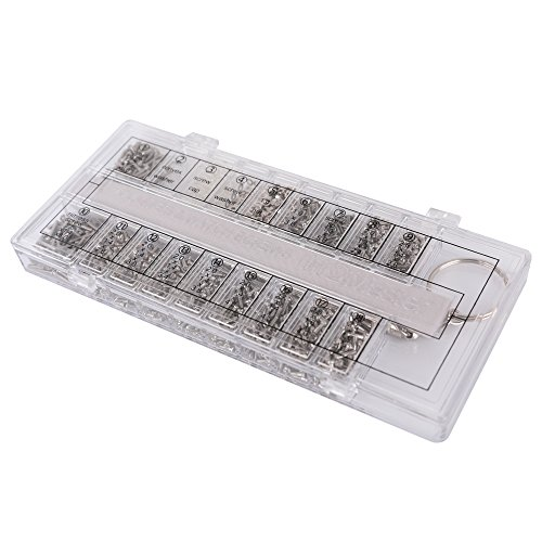 HQMaster 1500Pcs Eyeglass Sunglass Spectacles Tiny Screws Nut Washer Assortment Repair Tool Kit with Tweezer Micro Screwdriver (Hinge Screw, Nosepad Screw, Glasses Frame Screw, Rimless Glasses - Spring Hinges Glasses