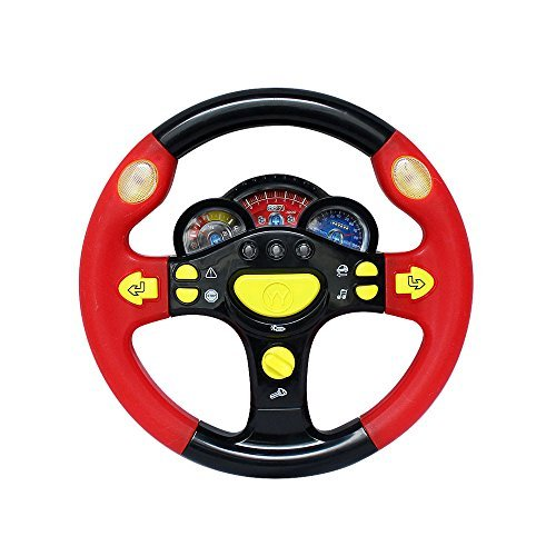 Prettyboy Turn and Learn Driver Kids Driving The Steering Wheel - with Music, Various Driving Sounds(Black red) -