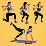 Pilates Bar Kit with Resistance Band, Portable Home Gym Workout Package,Resistance Band and Toning Bar Yoga Pilates Stick Yoga Exercise Bar with Foot Loop for Total Body Workout