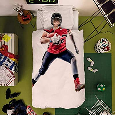 2 Piece Bedding Sets for Boys Girls Imaginary Cosplay Twin Size, Illustration of a Strong American Football Player, Soft Quilt Cover Set with Duvet Cover Pillow Case for Kids Bedroom Decor Decor: Kitchen & Dining