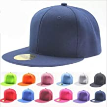 ILOVEDIY Classic Snapback Hats Blank Plain Hiphop Canvas Cap Adjustble for Boys and Girls
