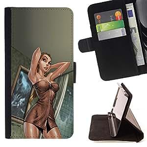 - sexy lingerie woman silk legs hot girl - - Prima caja de la PU billetera de cuero con ranuras para tarjetas, efectivo desmontable correa para l Funny HouseFOR HTC DESIRE 816