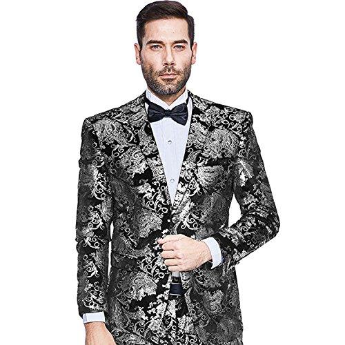 Mens Blazer Floral Dress Suit Jacket Party Tuxedos Slim Fit Luxury Notched Lapel Blazer(Silver, (Luxury Suit Jacket)